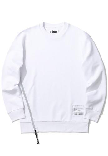 izzue white PVC badge side zip sweatshirt D7420AA64485DEGS_1
