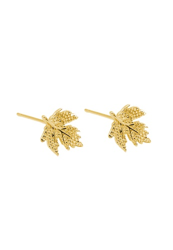 LYCKA gold LDR1206 S925 Silver Maple Leaves Stud Earrings 5A259AC67DCAADGS_1