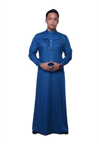Maribeli Butik blue MB Man Jubah Qhalees 06 Snorkel Blue MA905AA33LUKMY_1