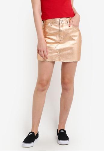 TOPSHOP gold Moto Rose Gold Metallic Skirt TO412AA47JGQMY_1