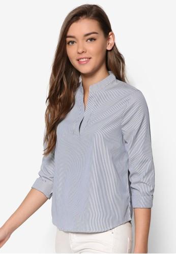 Essential 中式領長袖T-shirt、 服飾、 上衣ZALORAEssential中式領長袖上衣最新折價