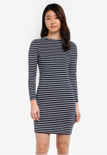 ZALORA navy Basic Long Sleeves Bodycon Dress E6129ZZB771589GS_1