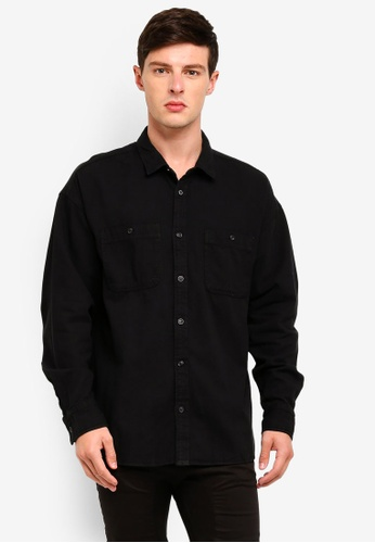 Cotton On 黑色 Long Sleeve Workwear Shirt 4D83FAA84B987BGS_1