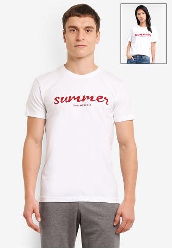 Summerism white Summer typo Tee - White 92D25AA5F41C56GS_1