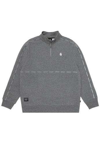 Fingercroxx grey Bigfoot quarter zip sweatshirt 80FB1AA73DA4D8GS_1