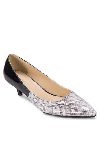 蛇紋拼接低跟鞋, 女zalora時尚購物網評價鞋, 鞋
