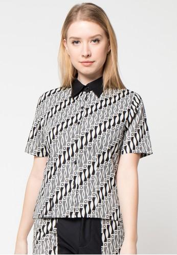 Bateeq black Short Sleeve Cotton Print Blouse BA656AA00ECTID_1