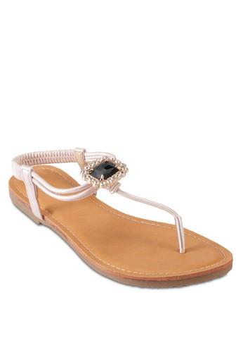 閃鑽寶石彈性繞踝涼鞋esprit台灣outlet, 女鞋, 鞋