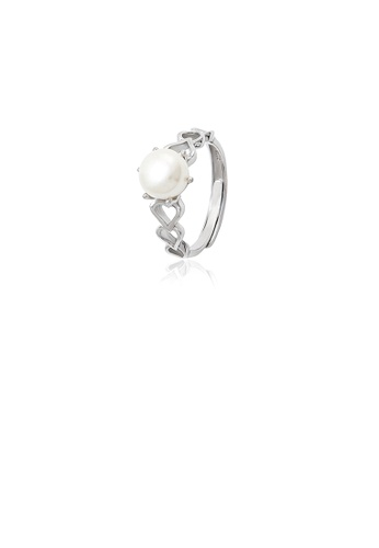 Glamorousky white 925 Sterling Silver Fashion Simple Hollow Heart Shaped Freshwater Pearl Adjustable Ring 2303AAC0355828GS_1
