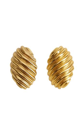 Mango gold Swirl Embossed Earrings F6046AC07ECC19GS_1
