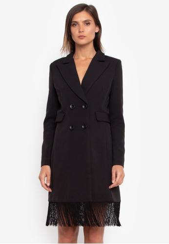 NOBASIC black Fringed Dress Blazer NO444AA0GR3CSG_1