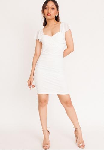 Hook Clothing white Flutter Sleeve Padded Mini Dress F7508AAE2D690DGS_1