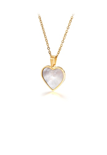 Glamorousky silver Simple and Romantic Plated Gold Shell Heart-shaped 316L Stainless Steel Pendant with Necklace C8914ACCD73B62GS_1
