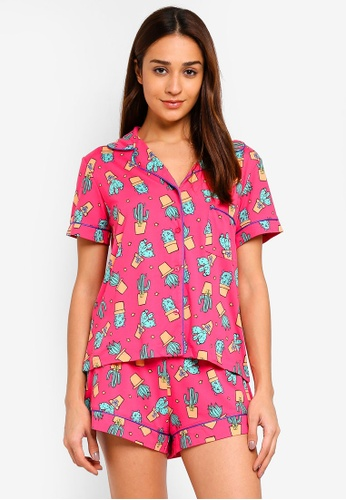 Chelsea Peers pink and multi Cactus All Over Print Pink Pyjama Shorts Set 99834AA1130871GS_1