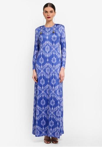 Rizalman for Zalora white and blue Slit Jersey Dress RI909AA0SF17MY_1
