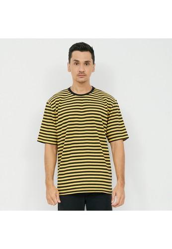 M231 M231 T-Shirt Salur Stripe Oversized Pendek Kuning 2145B EDB84AAFDA77E8GS_1