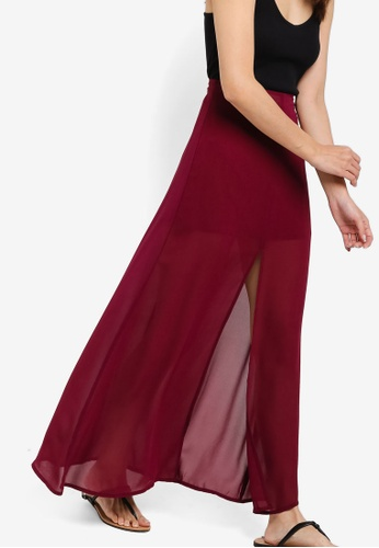 Something Borrowed red Front Slit Maxi Skirt 9B92FAA8A0B4A7GS_1