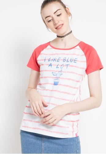 Cressida Ladies orange Striped Print T-Shirt CR653AA58TMJID_1