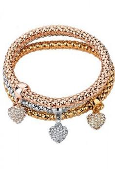 Crystal Filled Heart Charm Bracelet by ZUMQA