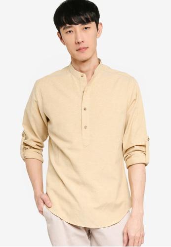 ZALORA BASICS beige Oxford Half Placket Shirt 96FC7AA3EF2AE8GS_1