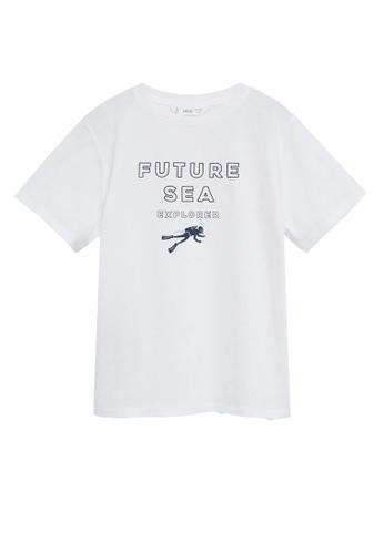 MANGO KIDS white Message Organic Cotton T-Shirt 9CA59KAF1A8F93GS_1