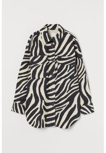 H&M beige Felted shirt jacket 509B9AAFF188B4GS_1