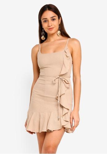 INDIKAH brown Asymmetrical Ruffle Hem Dress 2D311AA0FA79CDGS_1