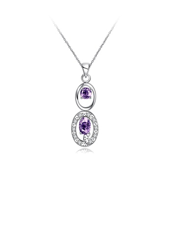 Glamorousky purple Fashion Elegant Geometric Hollow Oval Pendant with Purple Cubic Zircon and Necklace 5345AAC81064E4GS_1