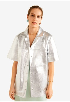 83d84241971 Mango silver Metallic Leather Shirt 390ABAA87BF458GS 1