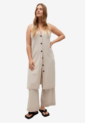 Violeta by MANGO beige Plus Size Button Knit Dress 4B8CEAABB03E7AGS_1