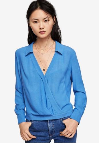 Mango blue Wrap V-Neckline Blouse C3E7DAAD6B07E2GS_1