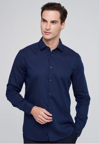 Sisley navy Long Sleeve Shirt 71AA7AA08AC4FCGS_1