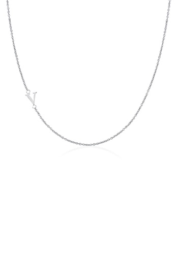 Moody Mood silver .925 Sterling Silver Sideway Letter V Necklace (18k white gold plating) 24982AC30945FDGS_1
