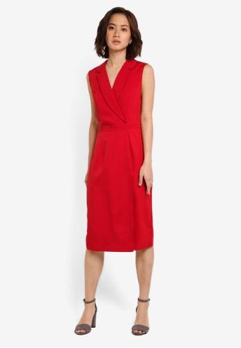 ZALORA red Corporate Overlay Sleeveless Dress 4992FAA14EEE3FGS_1