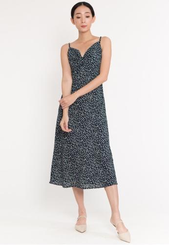 Plain B. blue Plain B. Single Strap Casual Slim Fit Sleeveless Long Polka Dot Long Dinner Dress 689E3AA00315F3GS_1