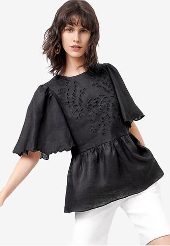 Saturday Club 黑色 上衣 With 刺繡Edges 1C505AACEBEF68GS_1