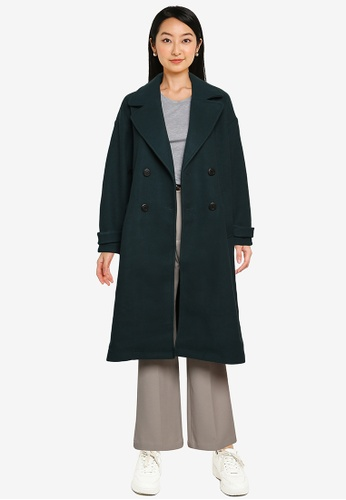 Heather green Classic Long Woven Coat AF614AAB0651F4GS_1