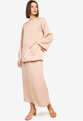 ZALIA BASICS 米褐色 Top With A-line Skirt Set 2CA15AAC9AFA88GS_1