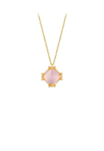 Glamorousky white 925 Sterling Silver Plated Gold Fashion Elegant Bow Pink Crystal Geometric Pendant with Cubic Zirconia and Necklace 3C514ACC384BF1GS_1
