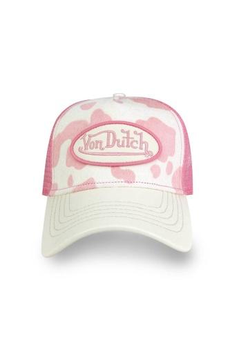 Von Dutch white and pink Von Dutch Pink Cow Print Pony Hair Trucker Cap 59341AC8CE7C57GS_1