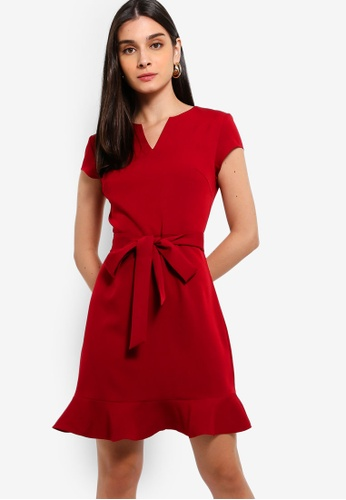 ZALORA 紅色 V-Notch Neck Sheath Dress 7B055AABF20018GS_1