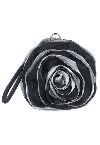 LULUGIFT black Rose Pattern Ribbon Clutches Handbag Black LU989AC42IXHMY_1
