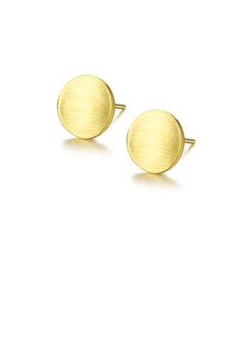 Glamorousky silver 925 Sterling Silver Plated Gold Simple Fashion Geometric Round Stud Earrings 17C66ACF5EFC3EGS_1