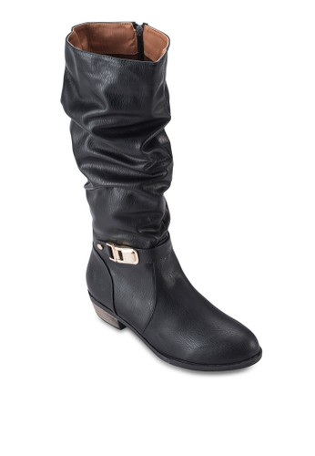 扣環飾高筒皮靴esprit 童裝, 女鞋, 鞋