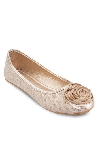 立體花飾圓頭平底鞋, esprit香港門市女鞋, 芭蕾平底鞋