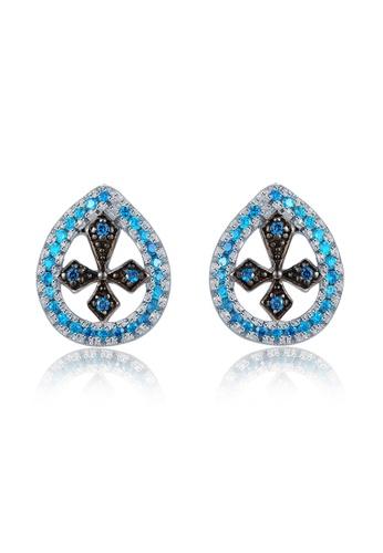 MBLife silver 925 Sterling Silver Black CZ Cross Earrings 44691AC08BD3A9GS_1