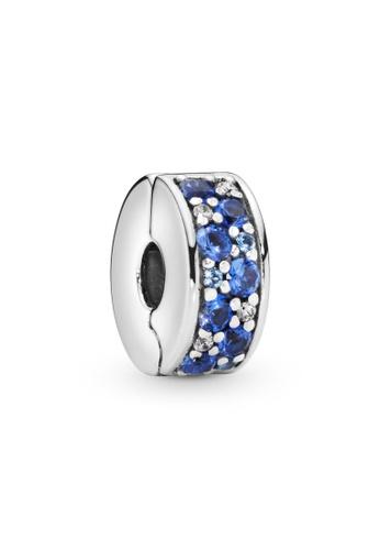 PANDORA silver Pandora Blue Pavé Clip Charm 9EC89AC02D2F2FGS_1