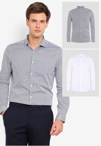 33d90b5796 Burton Menswear London black and white Monochrome Dot And Black Skinny Fit  Stretch Multipack Shirts 93E3BAA2197F21GS_1