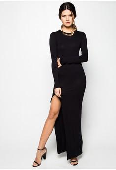 Amanda Black Long Dress with Slit