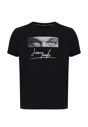 Jeremy Meeks black Men Swarovski Detailed T-Shirt Black D53C1AA076CF30GS_1